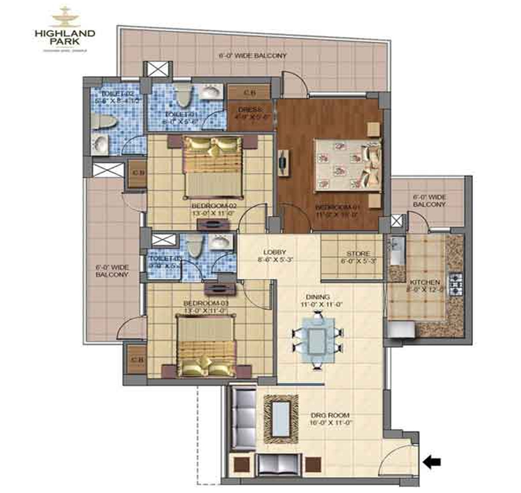 Highland Park Floor Plan 1730 Sq. Ft.